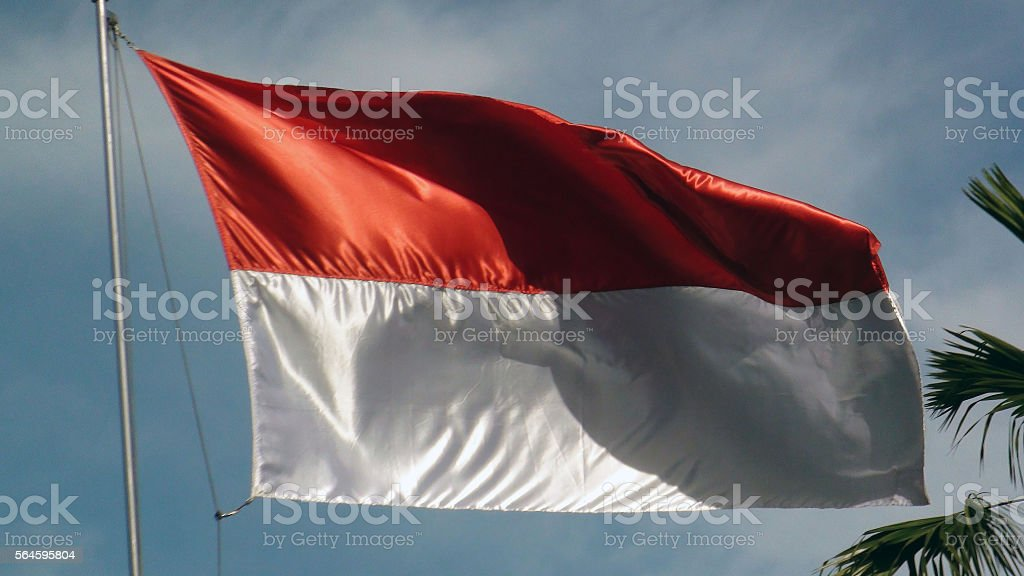 Indonesian National Flag Close Up View In Jakarta Indonesia.Southeast Asia stock photo