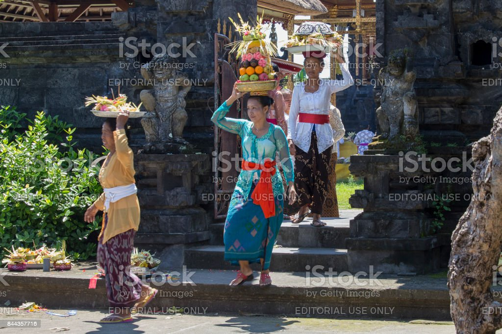 Indonesian people celebrate Balinese New Year and the arrival of spring. stock photo