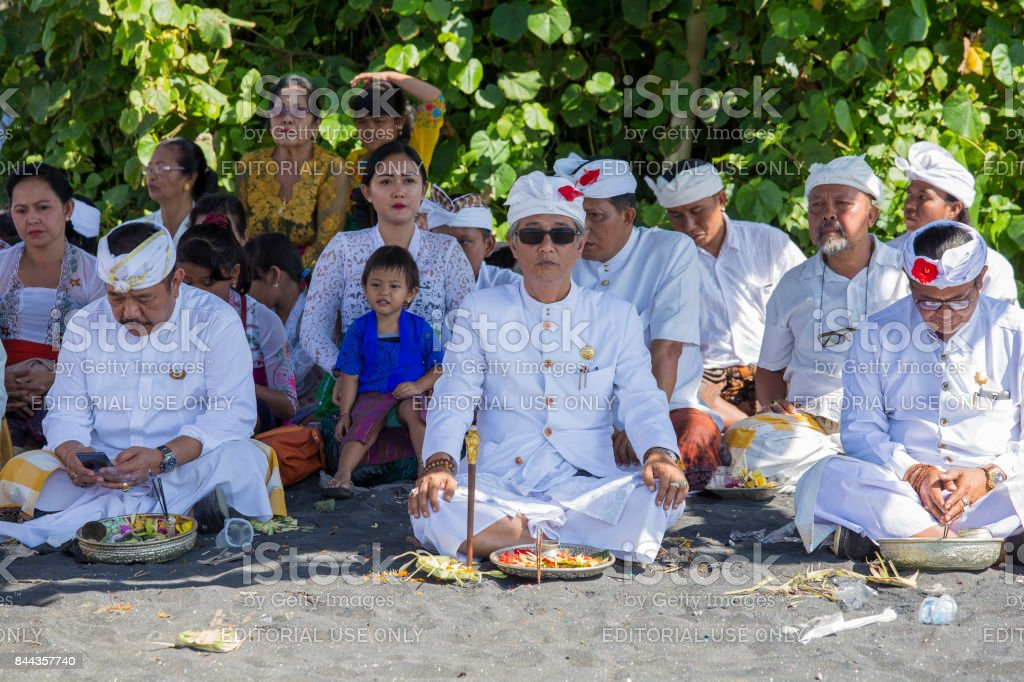 Indonesian people celebrate Balinese New Year and the arrival of spring. Ubud, Bali,Indonesia stock photo