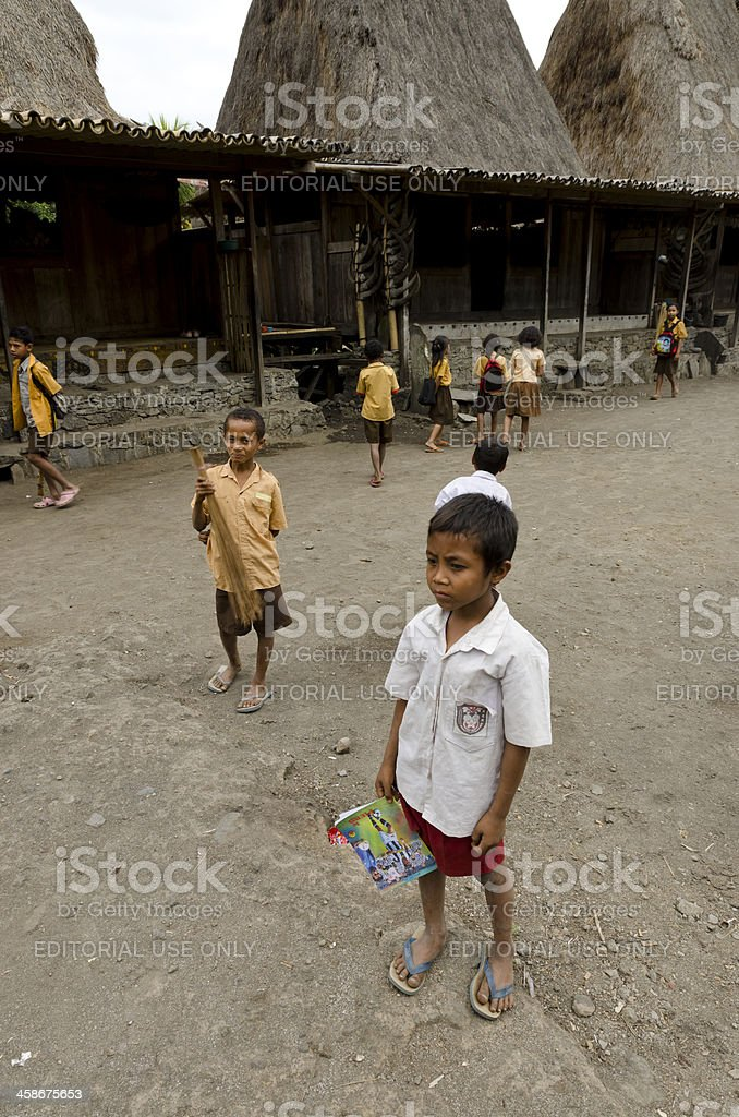 Indonesian pupil looking ahead stock photo