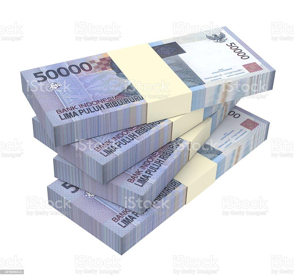 Indonesian rupiah money isolated on white background. stock photo