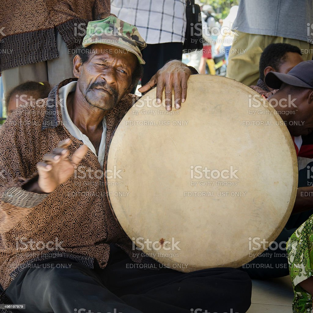 Indonesian traditional drummer stock photo