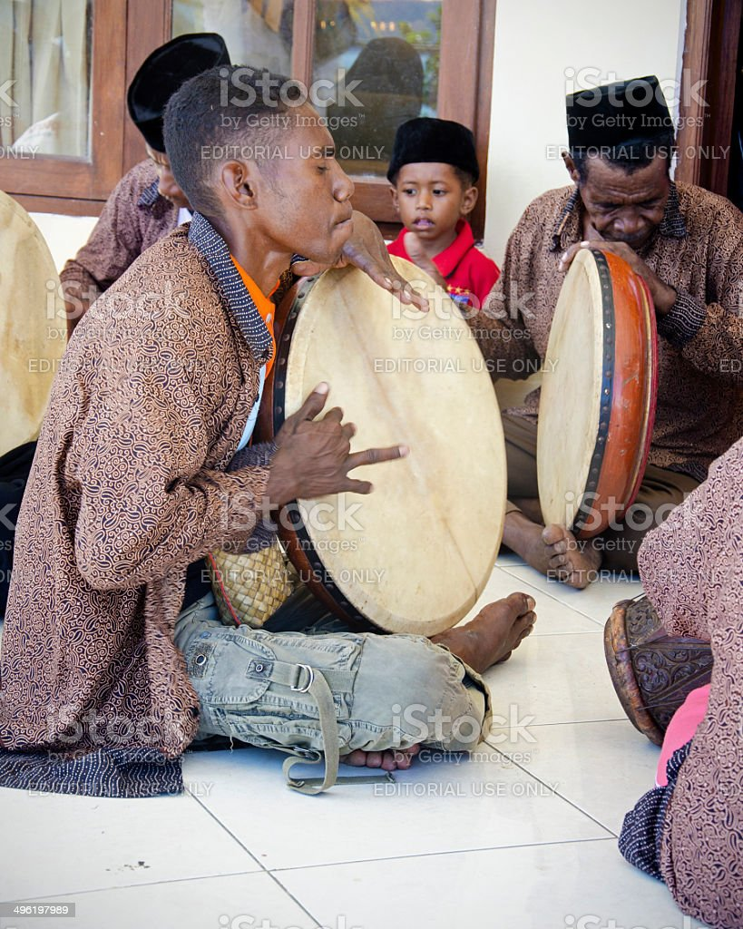 Indonesian traditional drummers stock photo