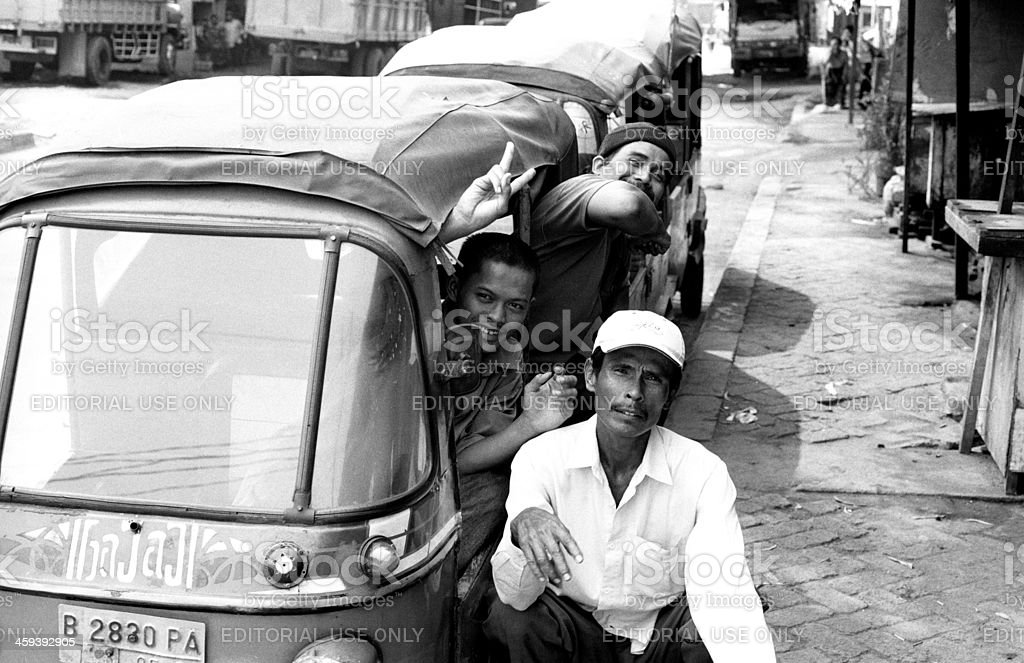 Indonesian tuktuk drivers royalty-free stock photo