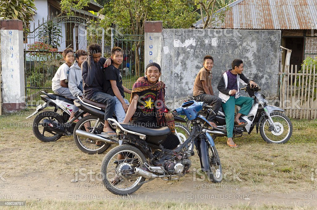 Indonesian youth with motorbikes stock photo