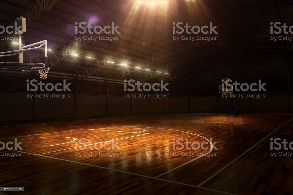 Indoor Basketball Court With Dramatic Lighting stock photo ...