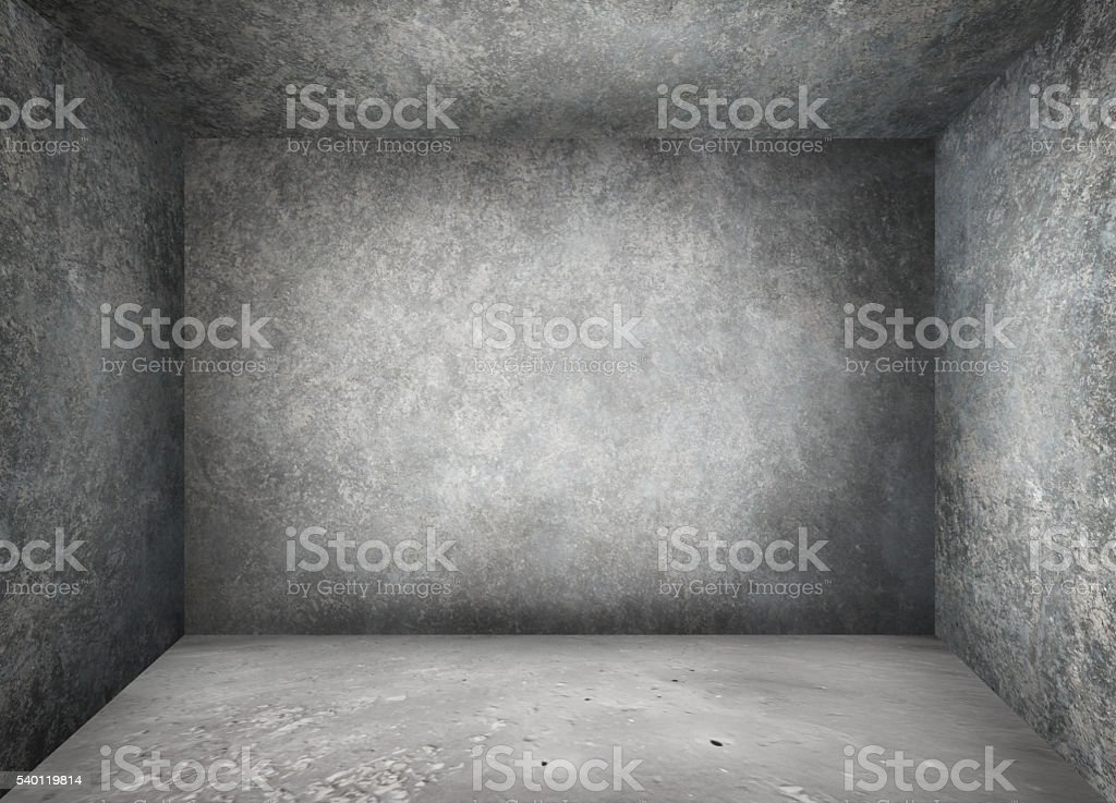 Indoor concrete walled room stock photo
