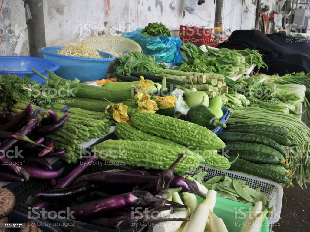 Indoor Farmers' Market Vegetable Stall stock photo