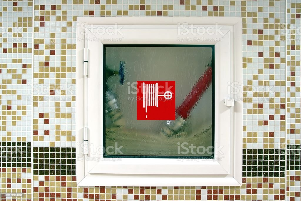 Indoor Fire Hydrant Cabinet stock photo