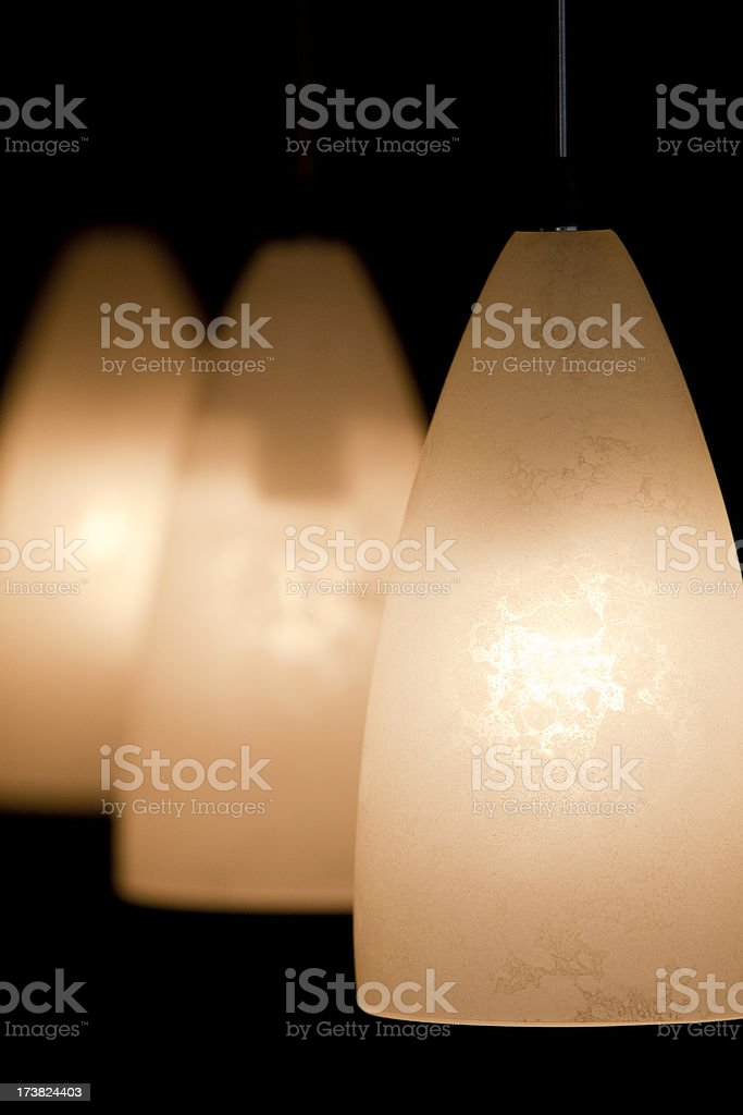Indoor lamps lit in the evening. royalty-free stock photo