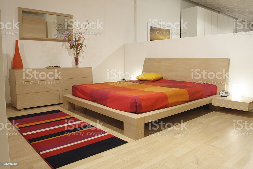 indoor, modern wood bedroom italian style stock photo