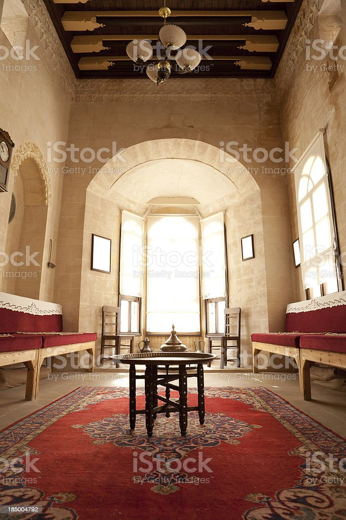 Indoor of Traditional House in Mardin stock photo