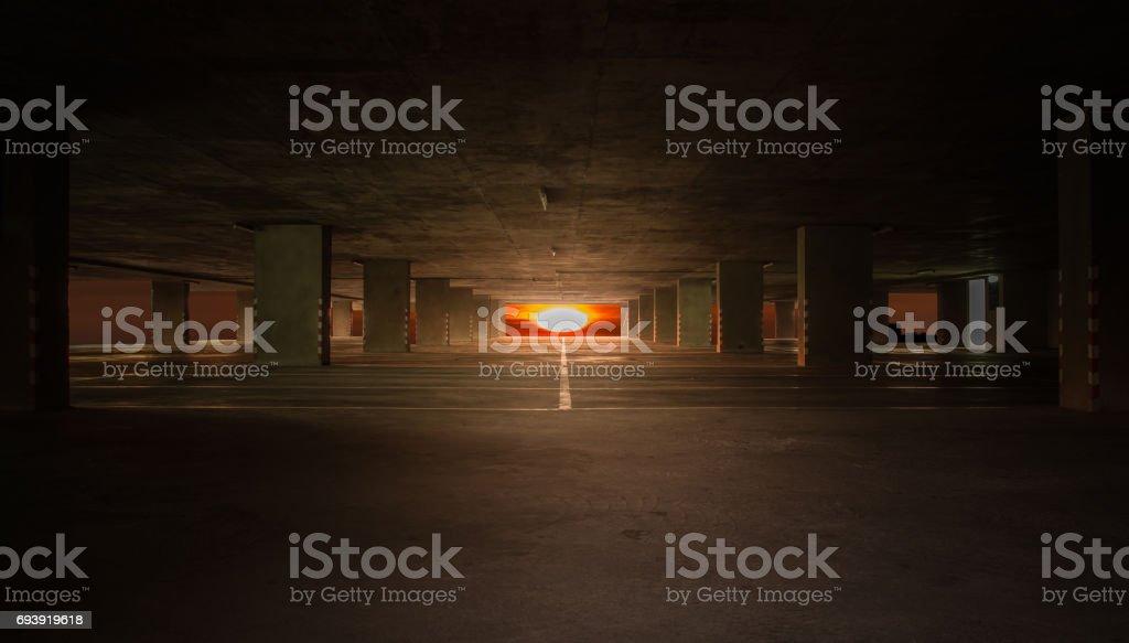 Indoor parking car stock photo