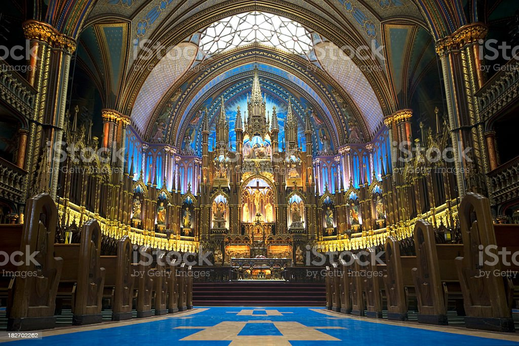 Indoor photo of Notes Dame Cathedral located in Montreal stock photo
