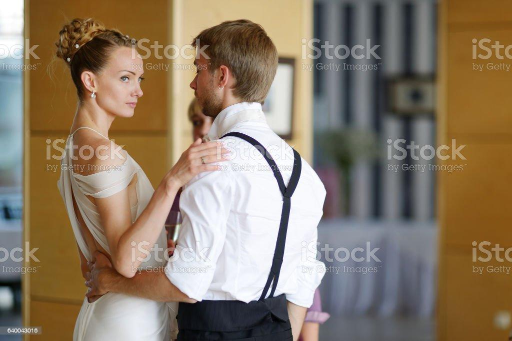 Indoor portrait of bride and groom stock photo