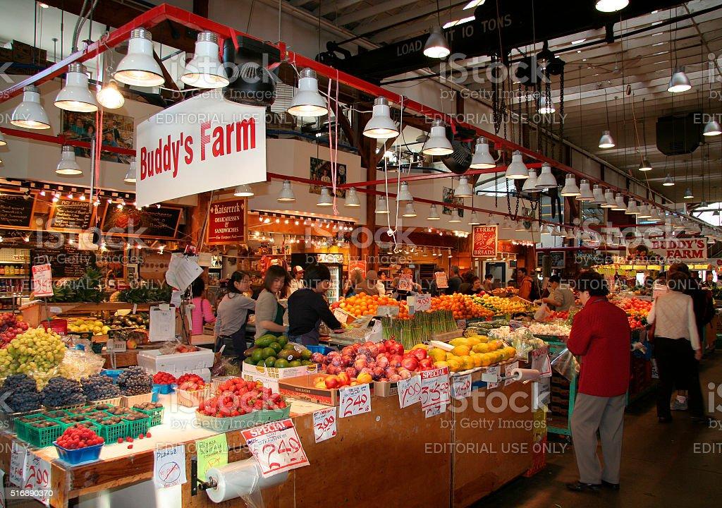 Indoor Public Fruit market, Granville Island, Vancouver, Canada stock photo