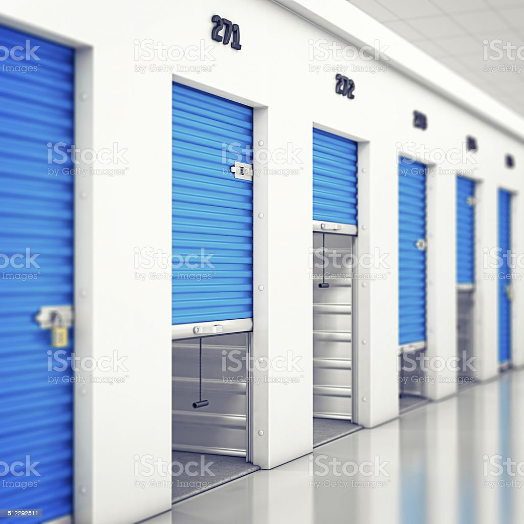 indoor self storage units stock photo