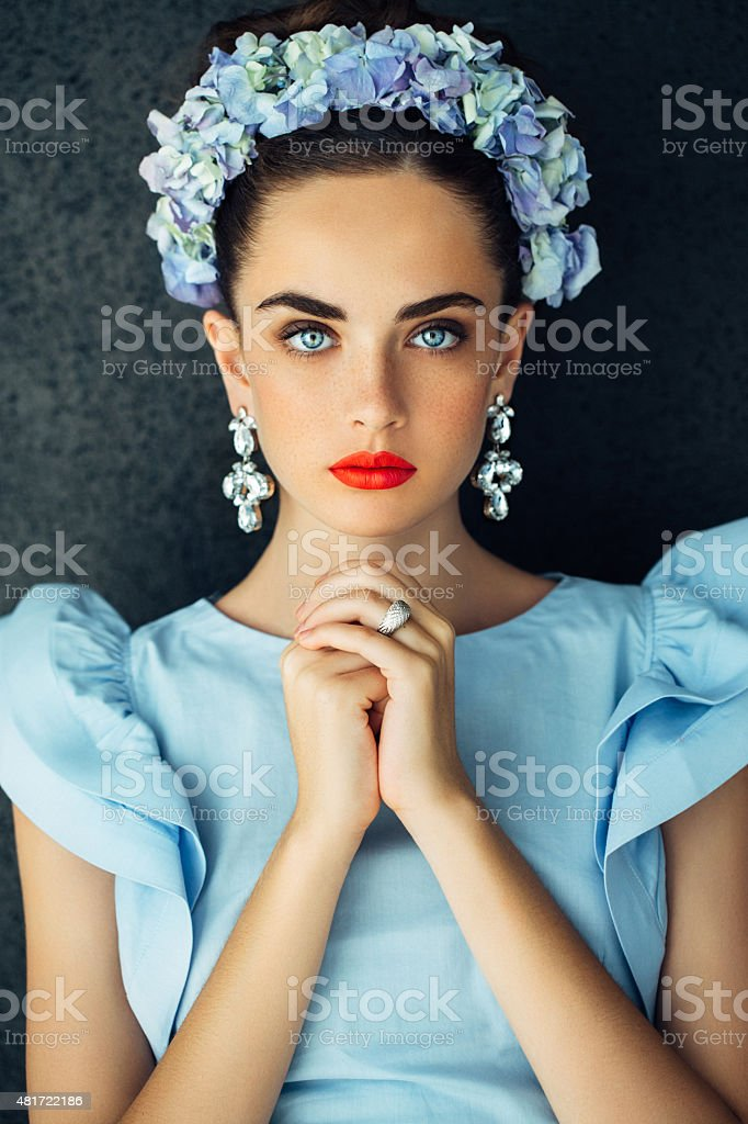 Indoor shot of young beautiful woman stock photo