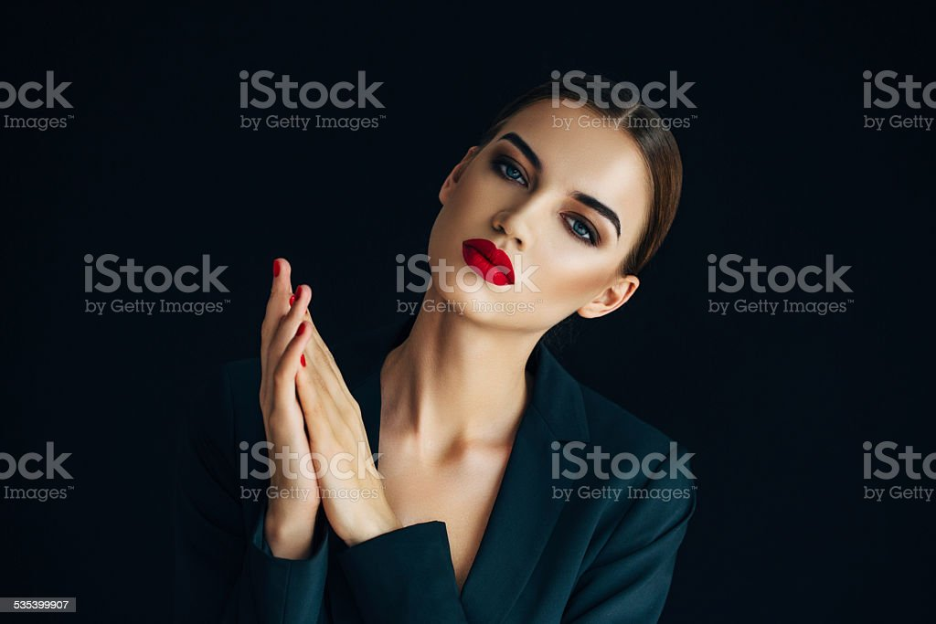 Indoor shot of young beautiful woman stock photo