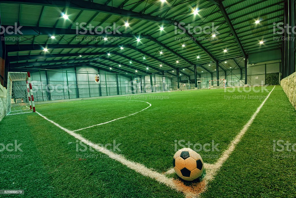 indoor Soccer football field stock photo