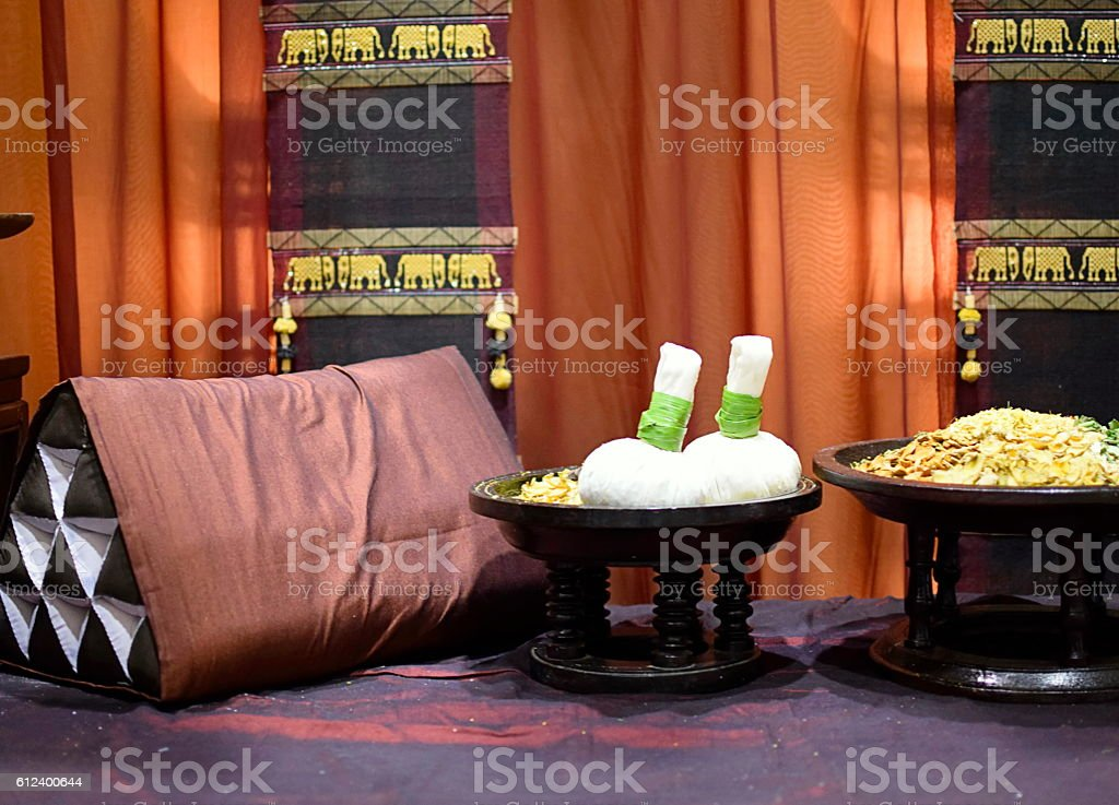 Indoor spa massage setting stock photo