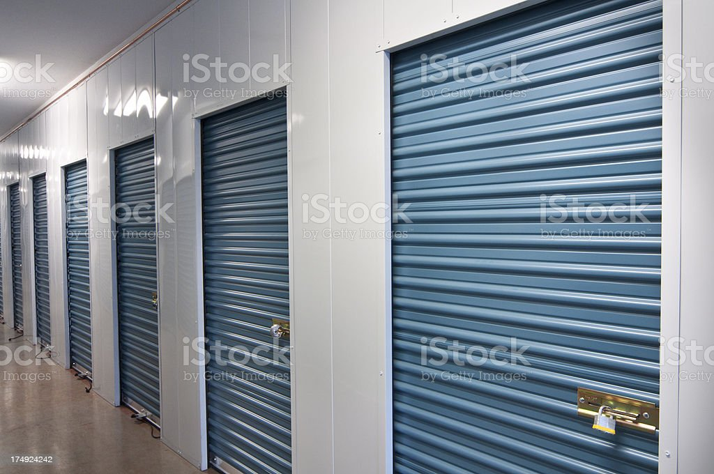 Indoor storage units stock photo
