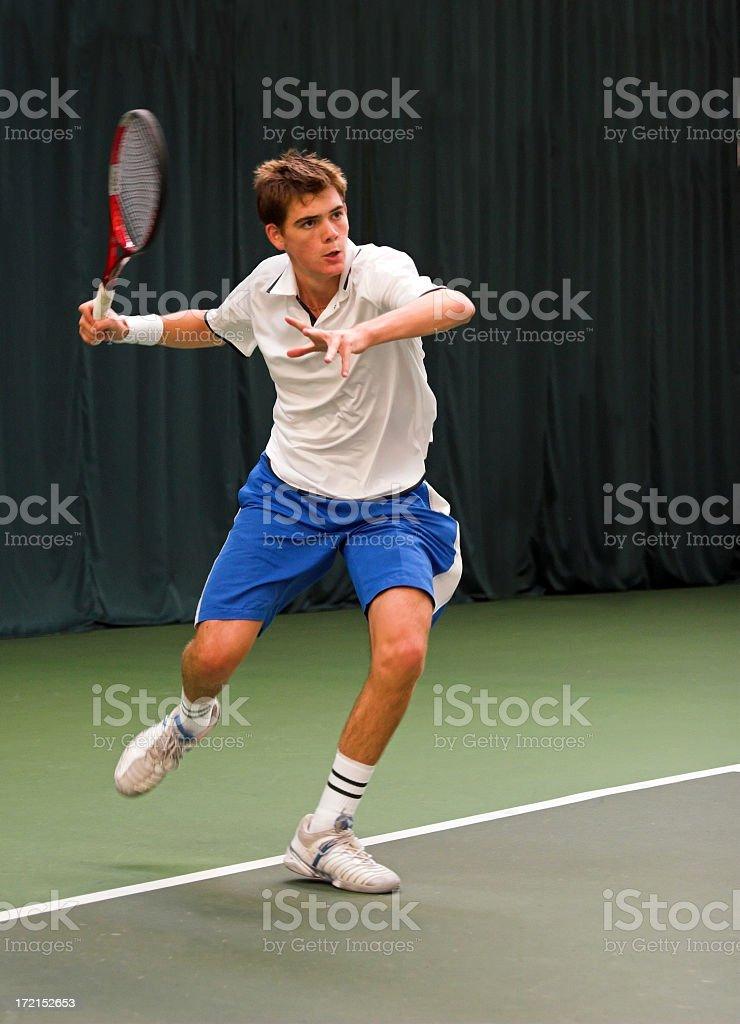 Indoor tennis match stock photo