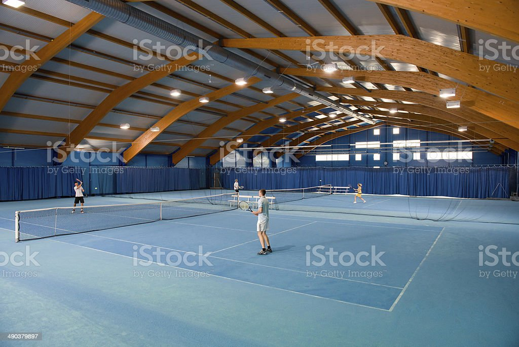 Indoor tennis match stock photo