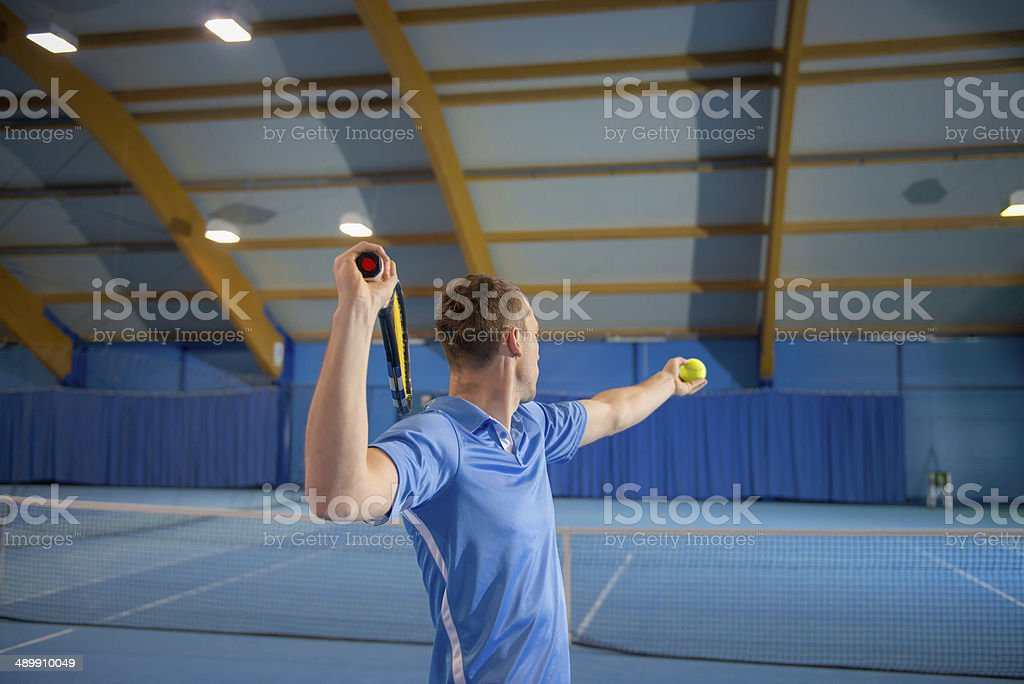 Indoor tennis stock photo