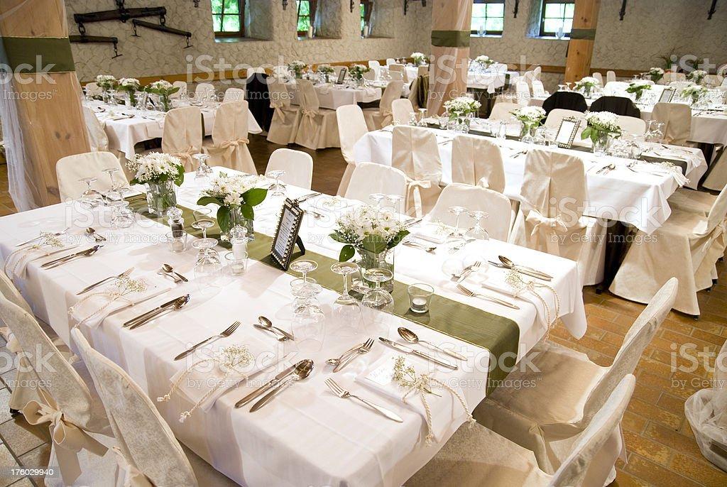indoor wedding table decoration stock photo
