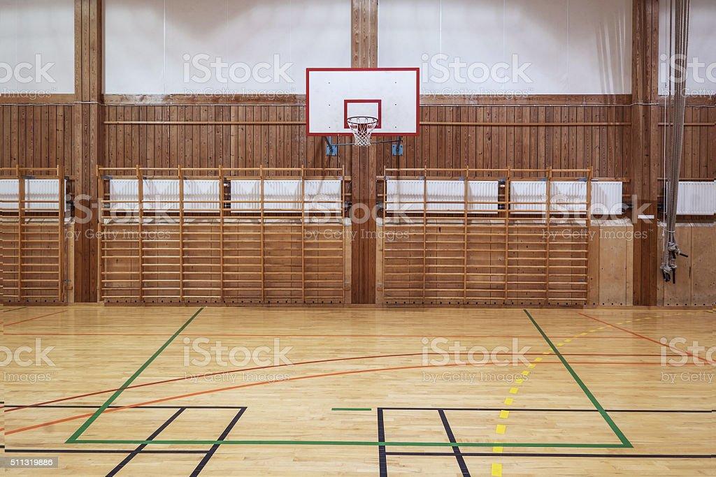 Indoors basketball court stock photo