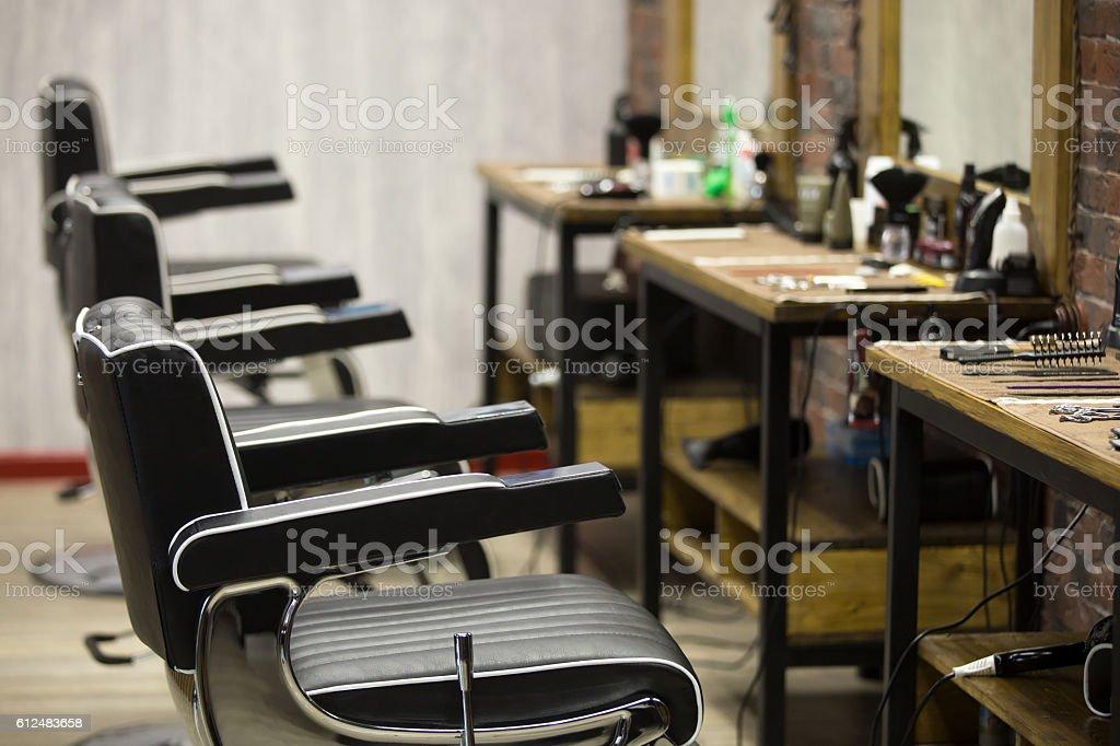 Indoors image of barbershop stock photo