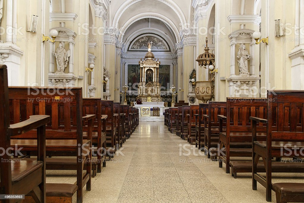indoors of Cathedral  in Leon, Nicaragua royalty-free stock photo