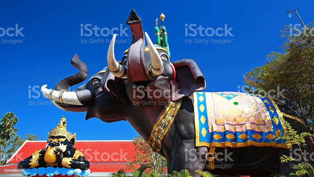 Indra on Erawan elephant and Rahu stock photo