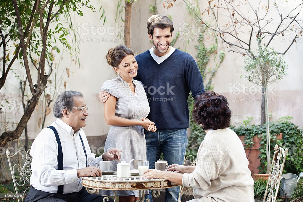 Indtroducing girlfriend to the parents stock photo