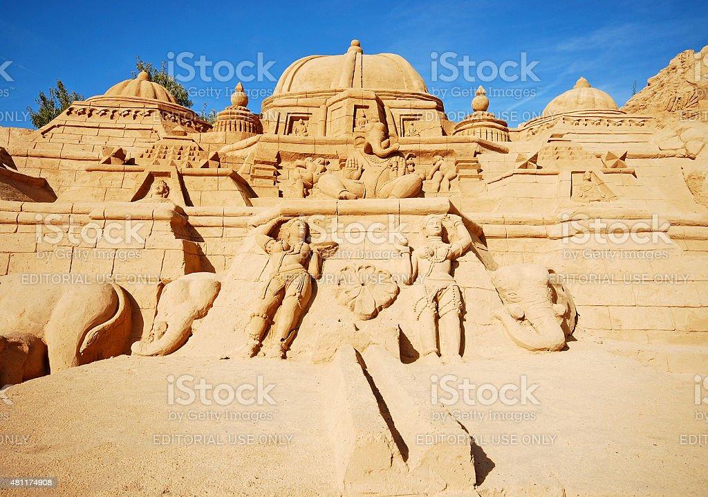 Induism temple large sand sculpture, Algarve, Portugal. stock photo
