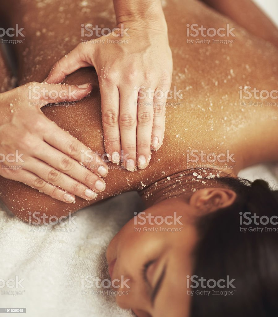 Indulging a luxurious back scrub stock photo