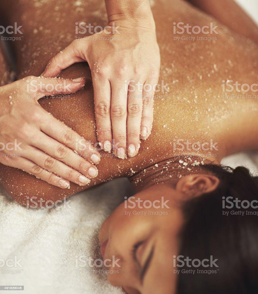 Indulging a luxurious back scrub stock photo