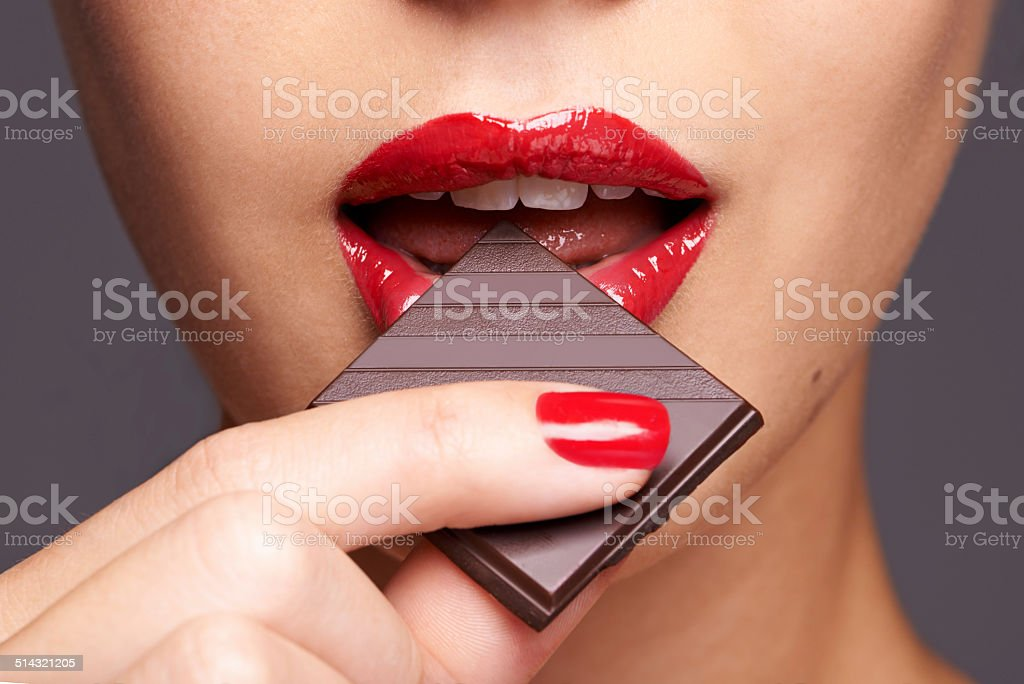 Indulging in a sweet affair with chocolate stock photo
