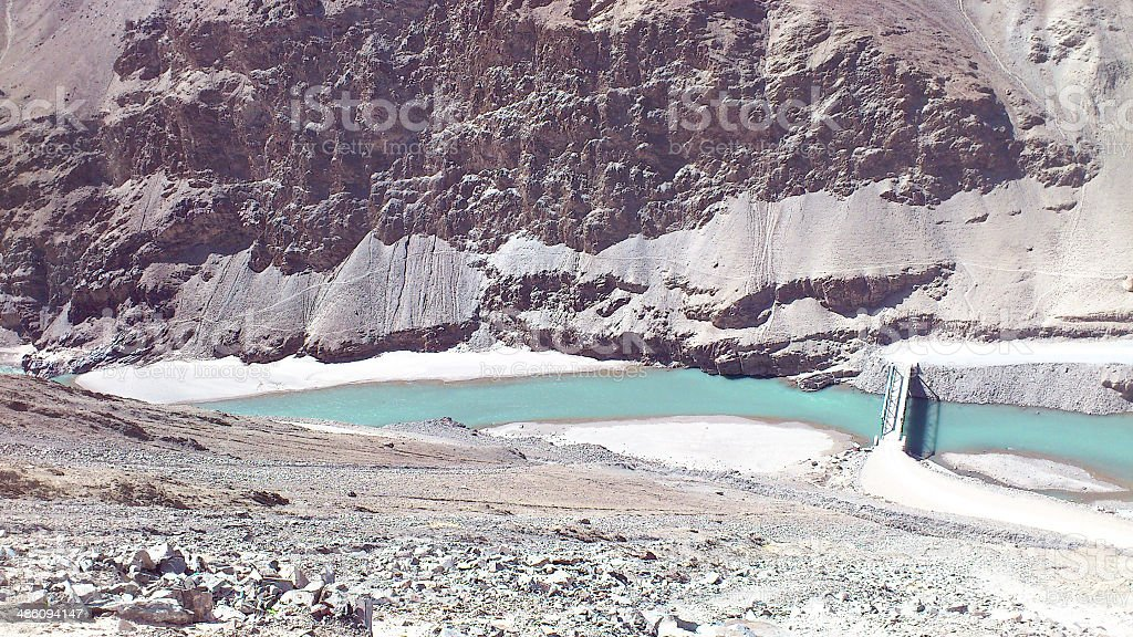 Indus river and the mountains royalty-free stock photo