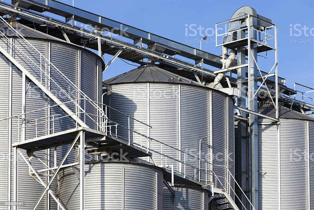 Industrial Agriculture Silos stock photo
