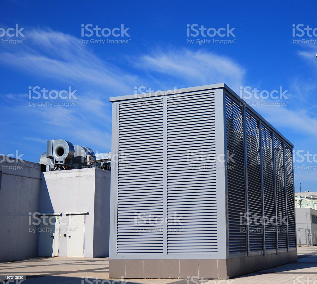 Industrial air conditioning and ventilation systems on the street stock photo