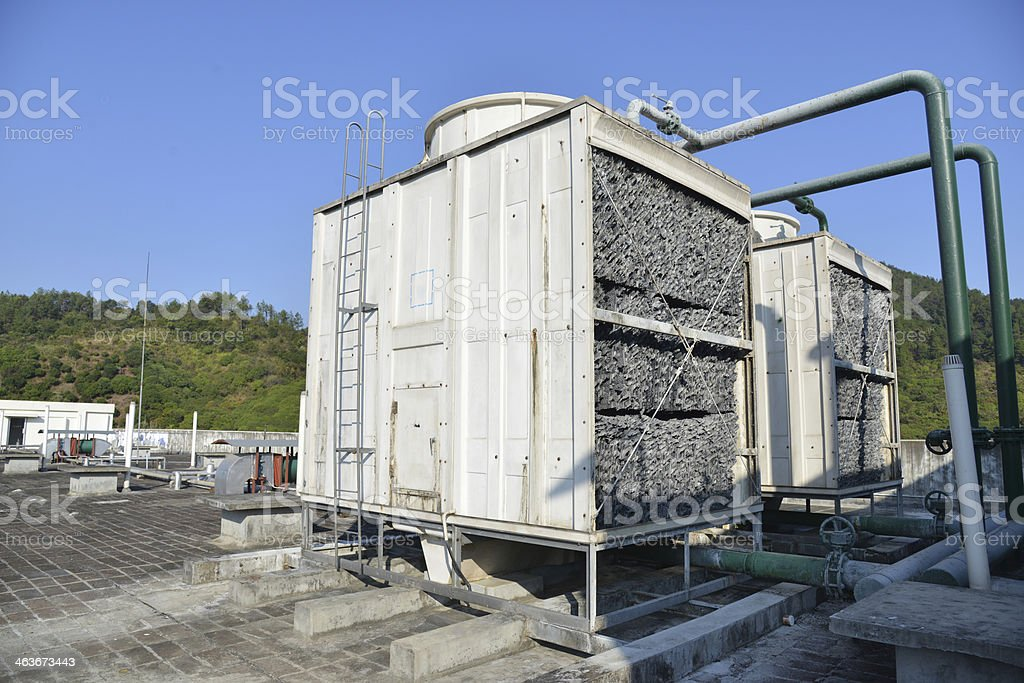 Industrial air conditioning unit cooling system stock photo