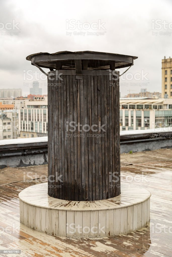 Industrial air duct on the roof stock photo
