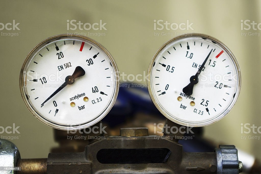 Industrial Air Pressure Gauge royalty-free stock photo