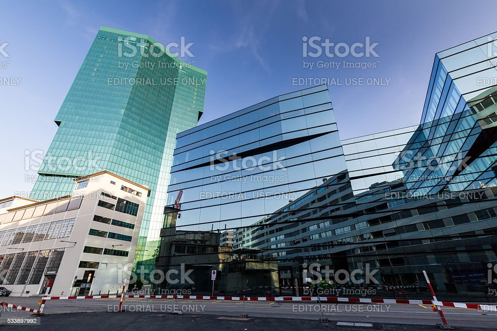 Industrial and urban buildings in Zurich stock photo