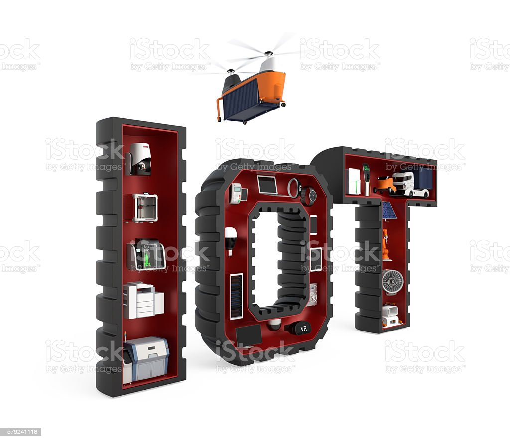 Industrial appliances in word IoT stock photo