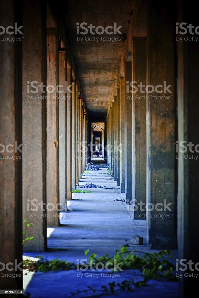 Industrial Architecture Colonnade Vanishing Point stock photo