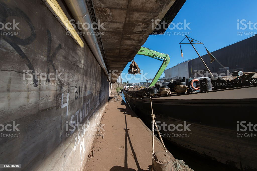 Industrial area along the Canal in Belgium stock photo