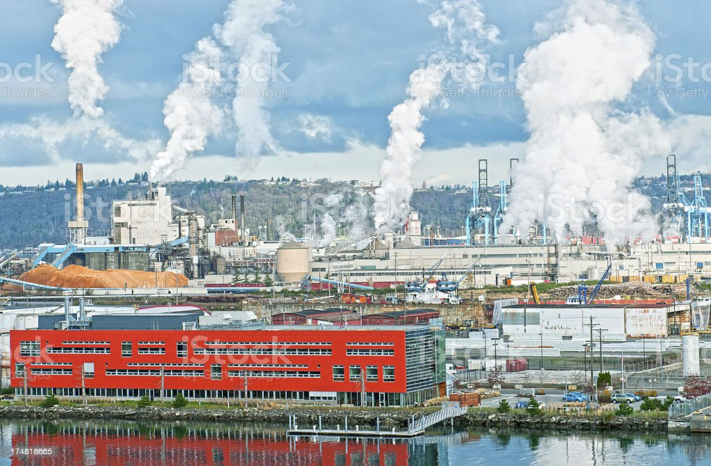 Industrial area at Port of Tacoma WA royalty-free stock photo